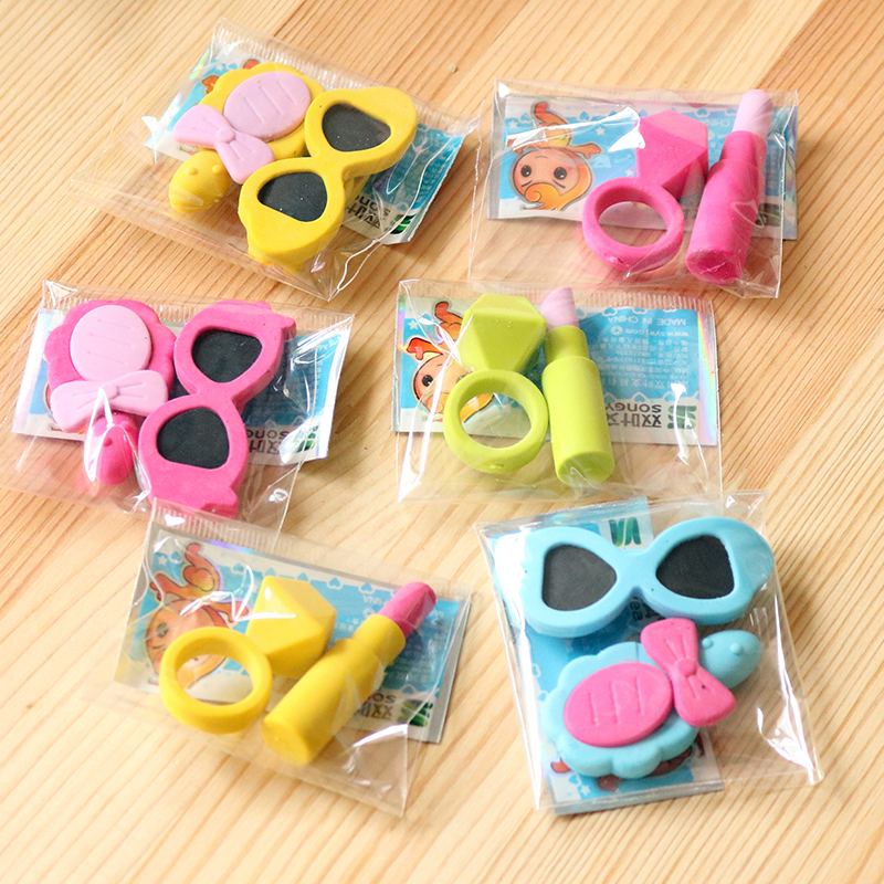 2pcs Lipstick Glass Mirror Rubber Pencil Eraser Stationary School Supplies Items Kawaii Office Cartoon Kids Gift Students Prizes