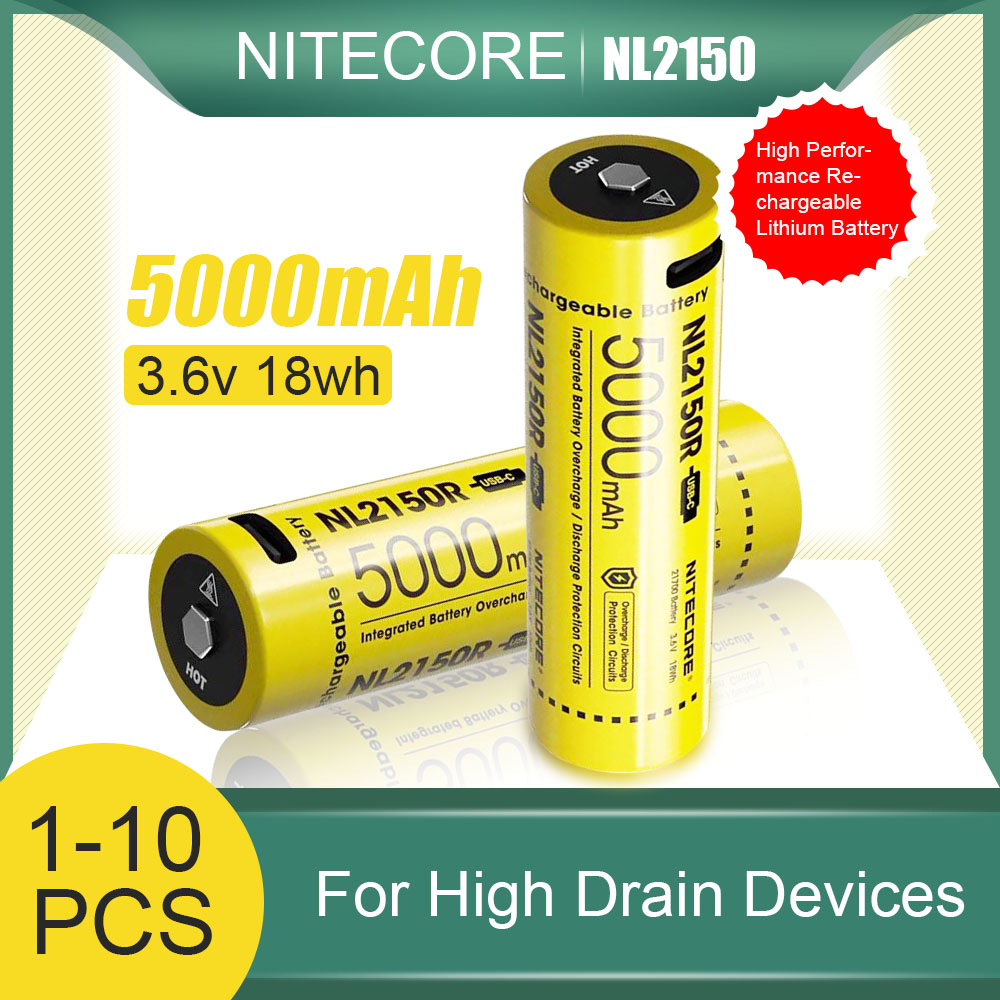 NITECORE 21700 Batteries NL2150R 5000mAh 3.6V 18Wh USB-C batterie Rechargeable au Lithium avec cellule de Protection NL2150 pour lampe de poche