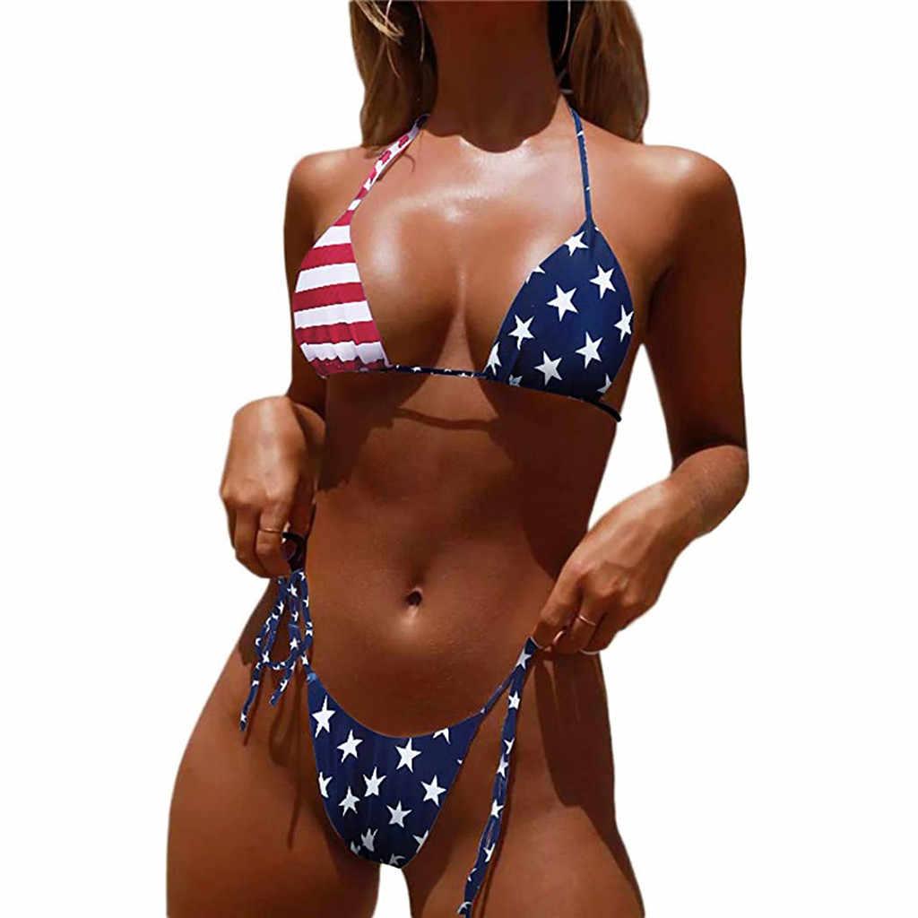 Seksowna flaga stanów zjednoczonych projekt kobiety bikini noszenie garnitur bandaż nadruk amerykańskiej flagi kostiumy kąpielowe 2 sztuka zestaw strój kąpielowy bikini na powołanie