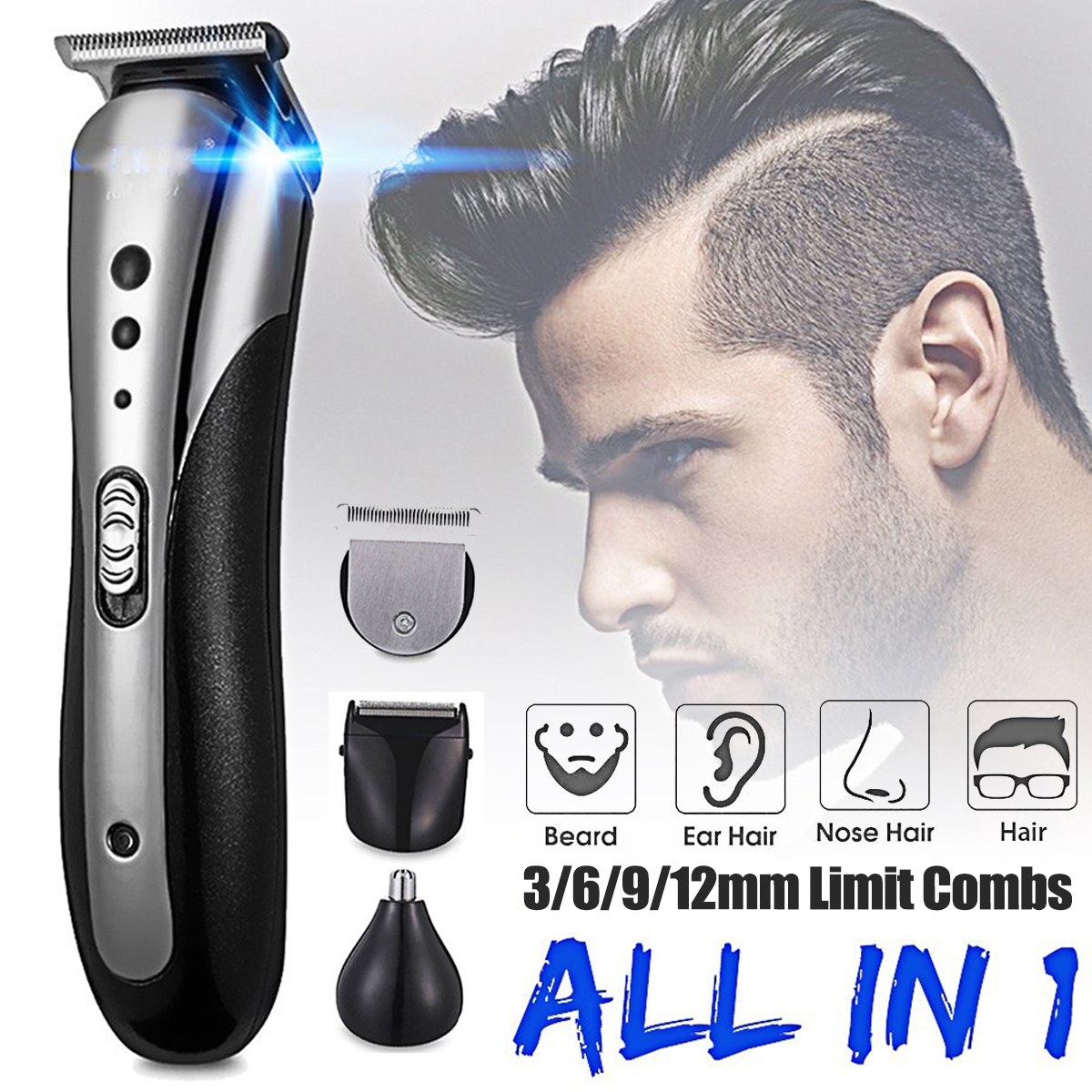 KEMEI All in1 Rechargeable Hair Clipper for Men Waterproof Wireless Electric Shaver Beard Nose Ear Shaver Hair Trimmer Tool