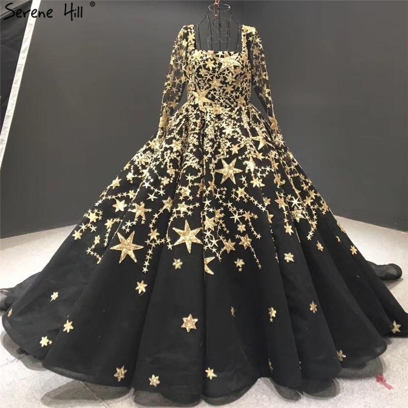Dubai Black Long Sleeves Sexy Wedding Dresses 2020 Luxur Sequined