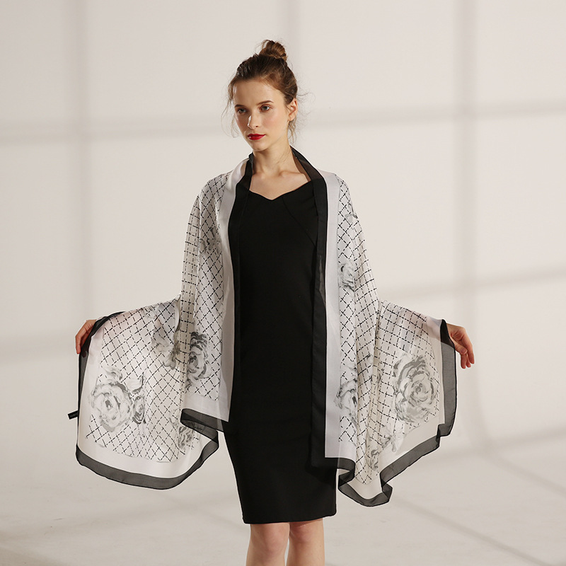 Spring And Summer New Style Imitated Silk Fabric Thin Air Conditioner Shawl Women's Printed College Style Pastoral Style Plaid S