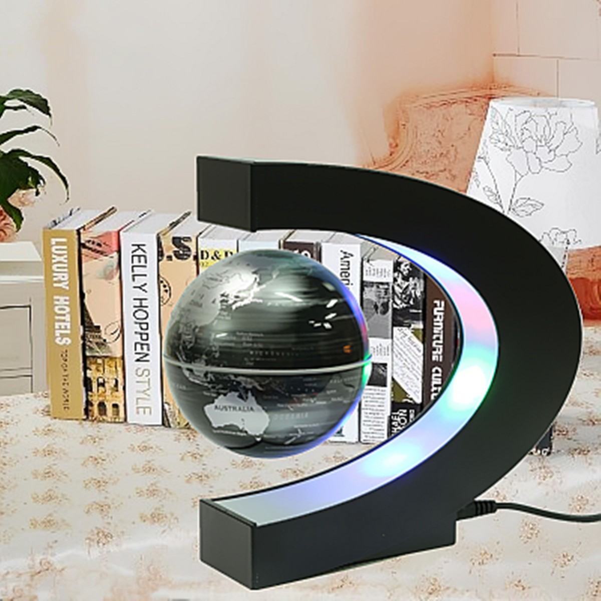 C Shape LED World Map Decoration Magnetic Levitation Floating Globe School Geography Teaching Resources Home Office Decor Gift