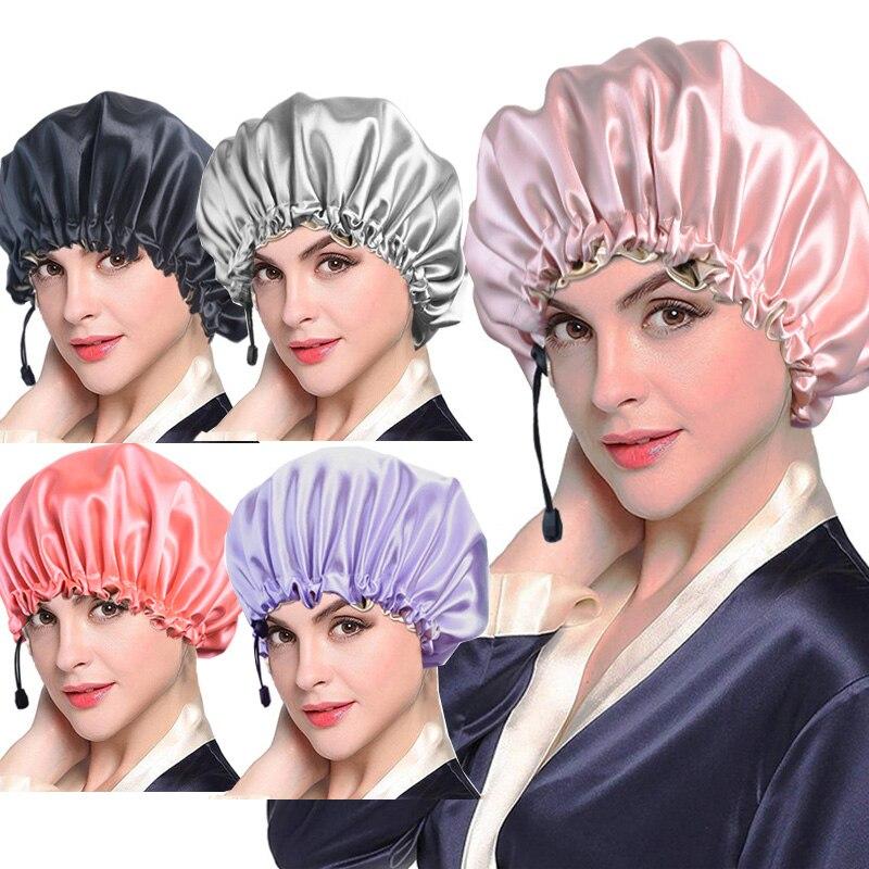 Novo sólido feminino satin bonnet moda mancha de seda grande gorro para lady sleep cap headwrap chapéu envoltório de cabelo acessórios ajustável