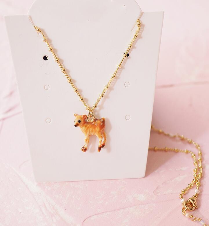 Image 3 - CSxjd 2019 New Enamel Glaze Forest Series Fawn Rabbit Butterfly  Gem Flower Necklace womens jewelry, wedding, party accessoriesJewelry  Sets