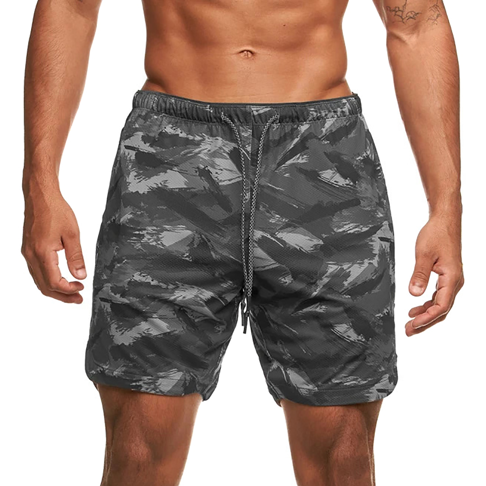 Summer Men Shorts with Towel Loop Camouflage Elastic Waist Workout Running Gym Casual Fashion Short