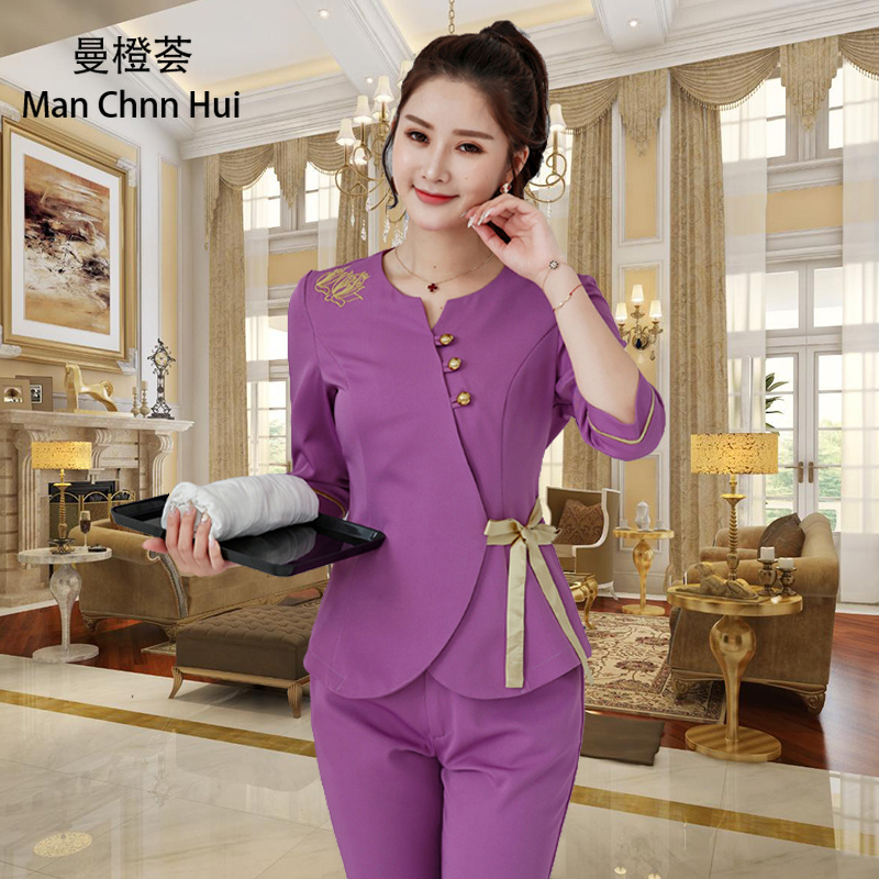 Women Workwear 2pcs Sets Female Sauna foot bath Uniforms  Beauty Clothing Beautician Medical Work Clothes SPA Uniform