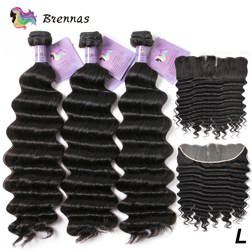 Human Hair Weaves Loose Wave Bundles With Frontal Brazilian Hair Bundles With 13X4 Lace Closure Low Ratio Natural Color Non-Remy