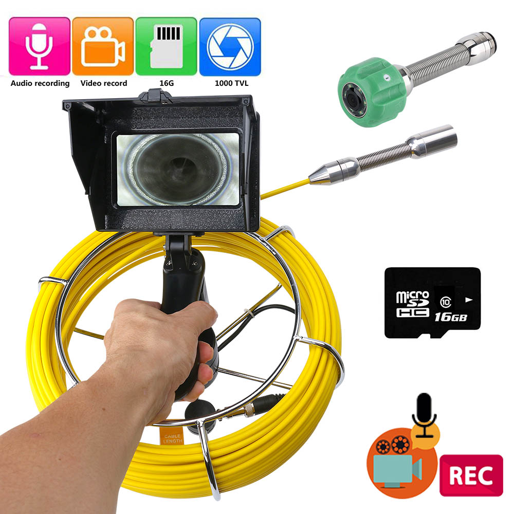20M 30M 50M Sewer Pipe Inspection Video Camera, 16GB TF Card DVR IP68 Drain Sewer Pipeline Industrial Endoscope With 4.3 Monitor