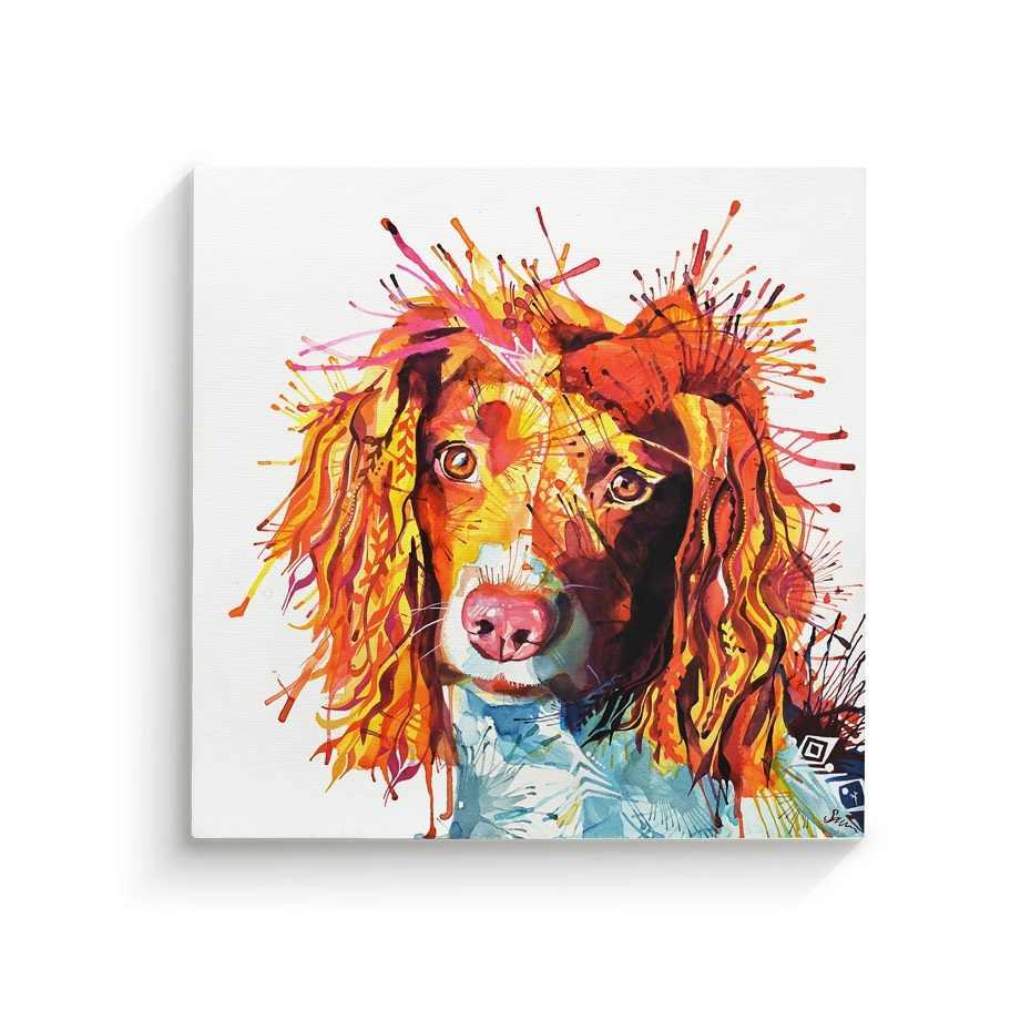 กรอบมือวาดสีสุนัขผ้าใบภาพวาดสัตว์โปสเตอร์ Wall Art ภาพพิมพ์ภาพพิมพ์ภาพห้องนั่งเล่นตกแต่งบ้านกรอบไม้