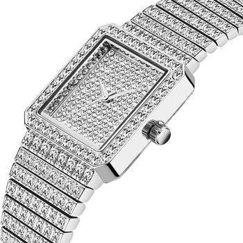 MISSFOX Diamond Watch For Women Luxury Brand Ladies Gold Square Watch Minimalist Analog Quartz Movt Unique Female Iced Out Watch 7
