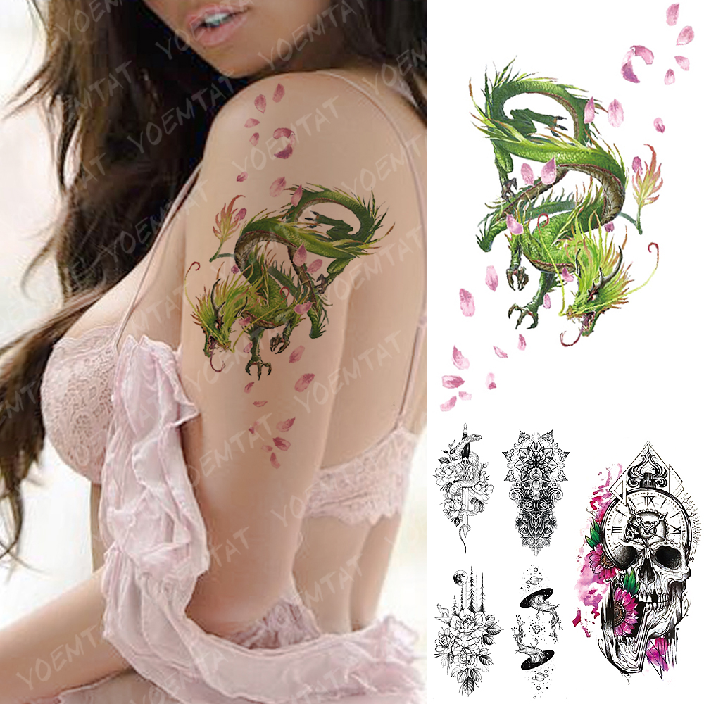 Waterproof Temporary Tattoo Sticker Green Cyan Cherry Dragon  Flash Tattoos Skull Clock Body Art Arm Fake Tatoo Women Men