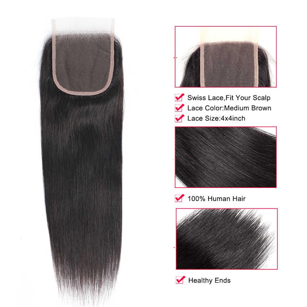 Superfect 4X4 perulu düz saç kapatma İsviçre dantel Remy insan saçı şeffaf dantel kapatma bebek saç ile