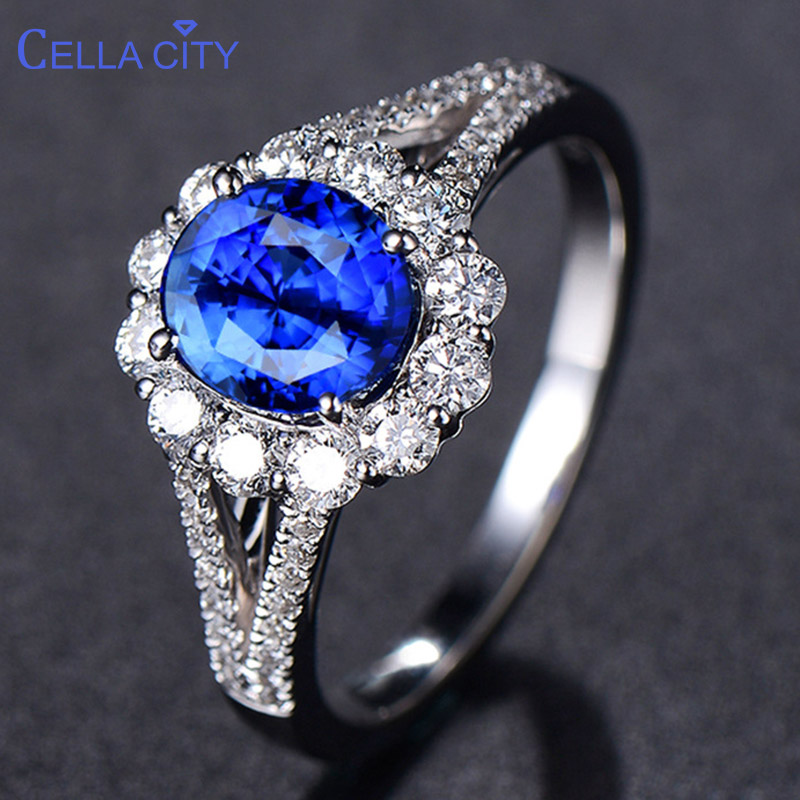 Cellacity Classic Silver 925 Sapphire Ring  For Women Open Adjust Size Silver Gemstone  Jewelry  Women Party Wholesale Gift