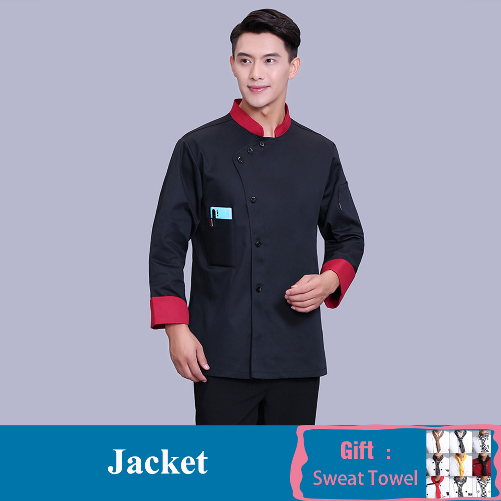 Chef Uniform Long Sleeve Patchwork Kitchen Restaurant Chef Jackets Hotel Chef Clothing Food Service Pastry Cook Work Clothes