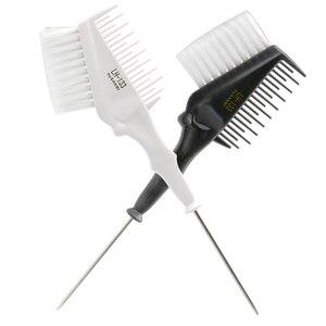 Image 1 - Pro peine para tinte de pelo con punta trasera de Metal, doble uso con tinte de pelo suave de nailon, tinte de salón para el cabello, cepillo para peluquería, 1 unidad