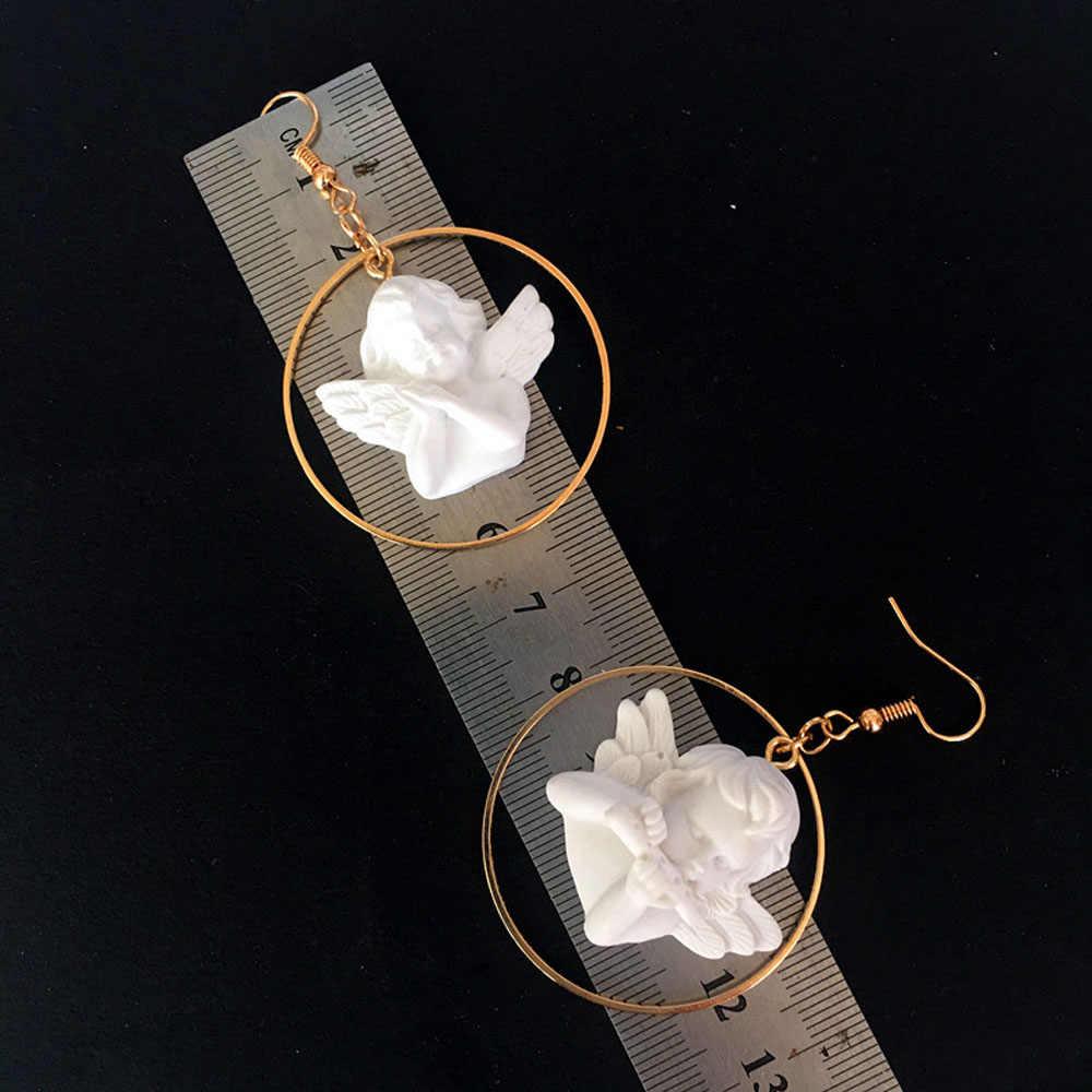 חמוד קופידון מלאך תליון טיפת עגיל עגול זהב מתכת פאנק שרשרת תכשיטי עבור מגניב נשים ידידות ילדה מתנות