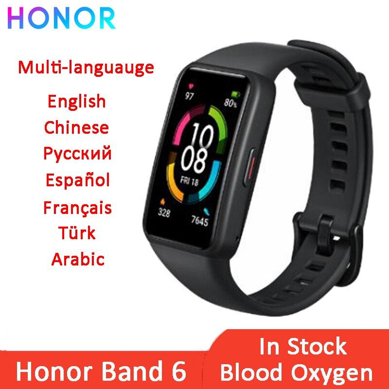 Honor – Bracelet connecté Band 6, écran tactile AMOLED, étanche, Bluetooth, moniteur de fréquence cardiaque et doxygène pendant le sommeil