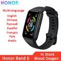 Оригинальный Смарт-браслет Honor Band 6, AMOLED Водонепроницаемый Фитнес-браслет с Bluetooth, мониторингом сна, кислородом, пульсометром и сенсорным экр...