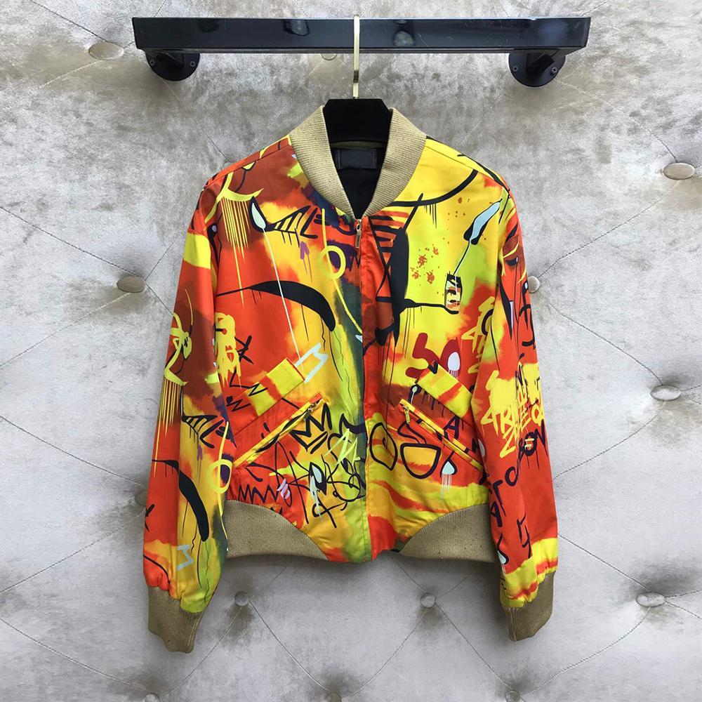 Top qualité mode haut de gamme Bomber pour veste femmes 2019 automne Vintage Graffiti imprimer lettres célébrité court vestes manteaux