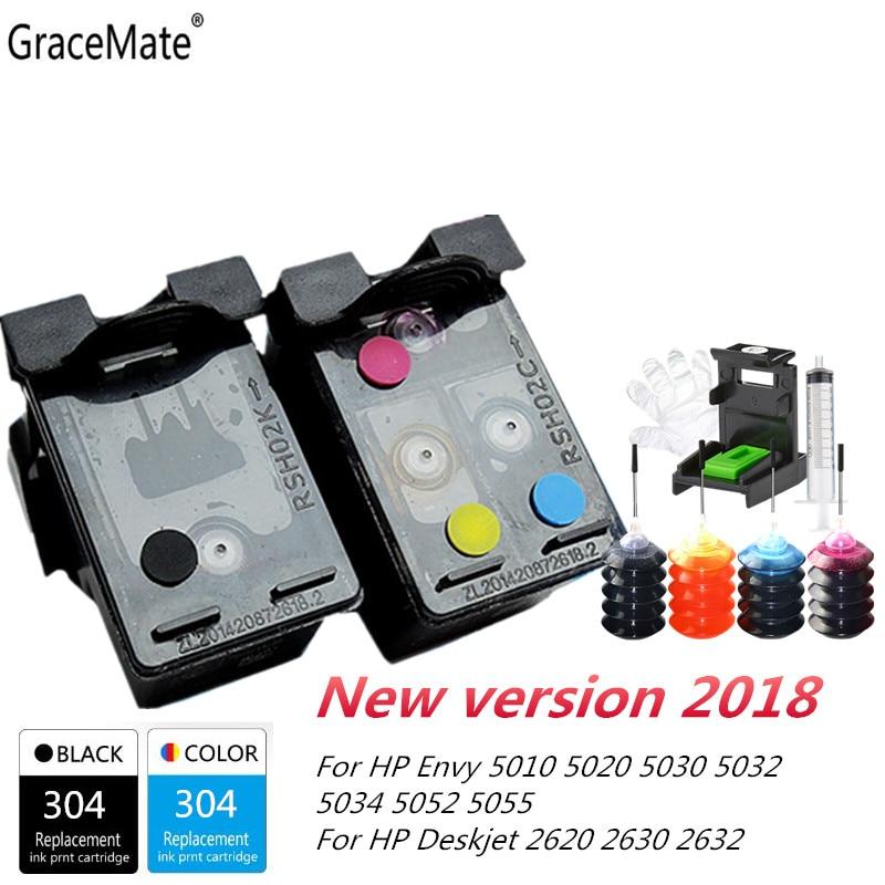 GraceMate New Version Refillable Ink Cartridge For HP 304 Xl Deskjet 2620 2630 2632 3730 Envy 5030 5020 5032 3720 5010 Printer