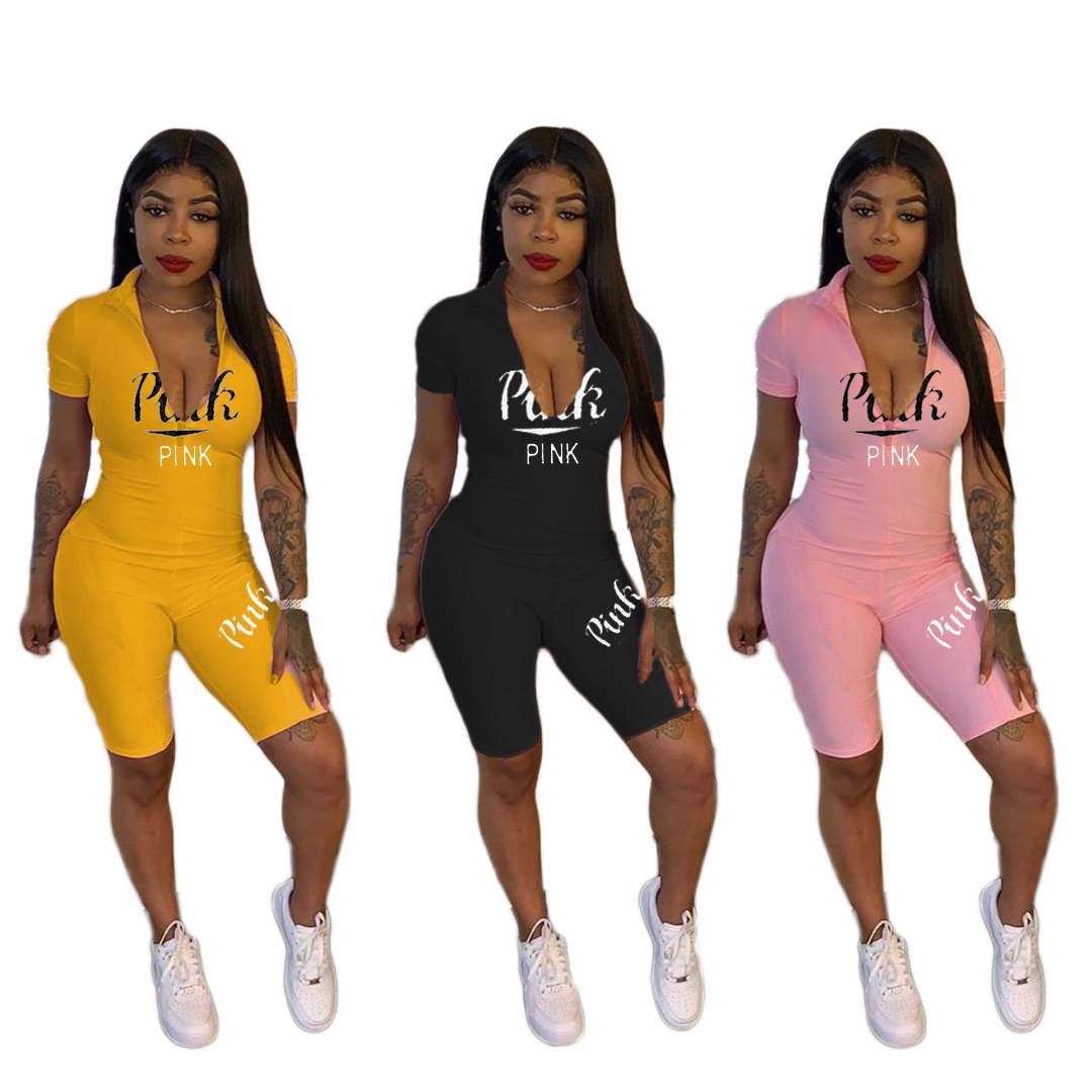 Sexy Pink Letter Print Zipper Short Sleeve Shorts Bodysuit Playsuit Casual Women Jumpsuit Sexy Skinny Shorts Rompers