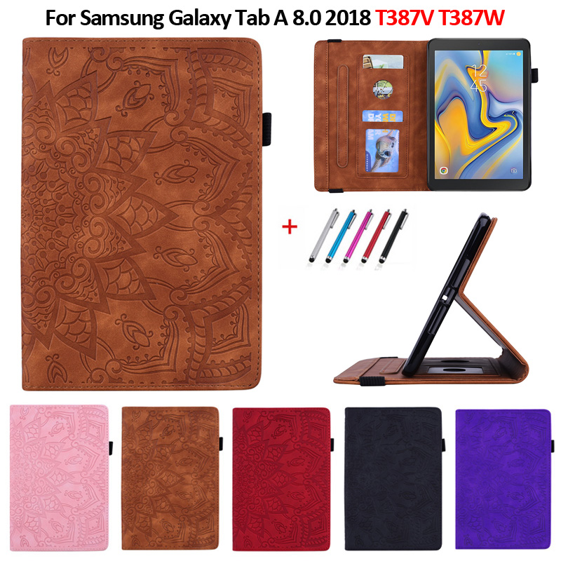Embossed PU Leather Stand Wallet Tablet Cover For Samsung Galaxy Tab A 8.0 2018 T387 SM-T387V SM-T387W Case Coque+Pen
