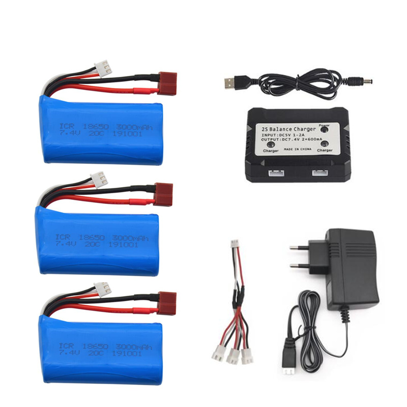 7.4V 3000mAh 2S Lipo Battery For Wltoys 144001 A959-B A969-B A979-B K929-B 12428 12423 10428 Q39 battery for RC cars toys parts