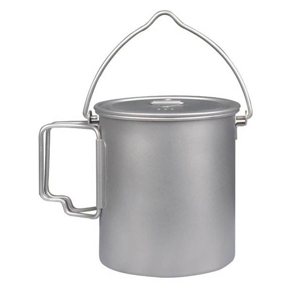 Титановая чашка 750 мл 900 мл 1100 мл титановый горшок кружка для воды с крышкой Складная ручка походная посуда