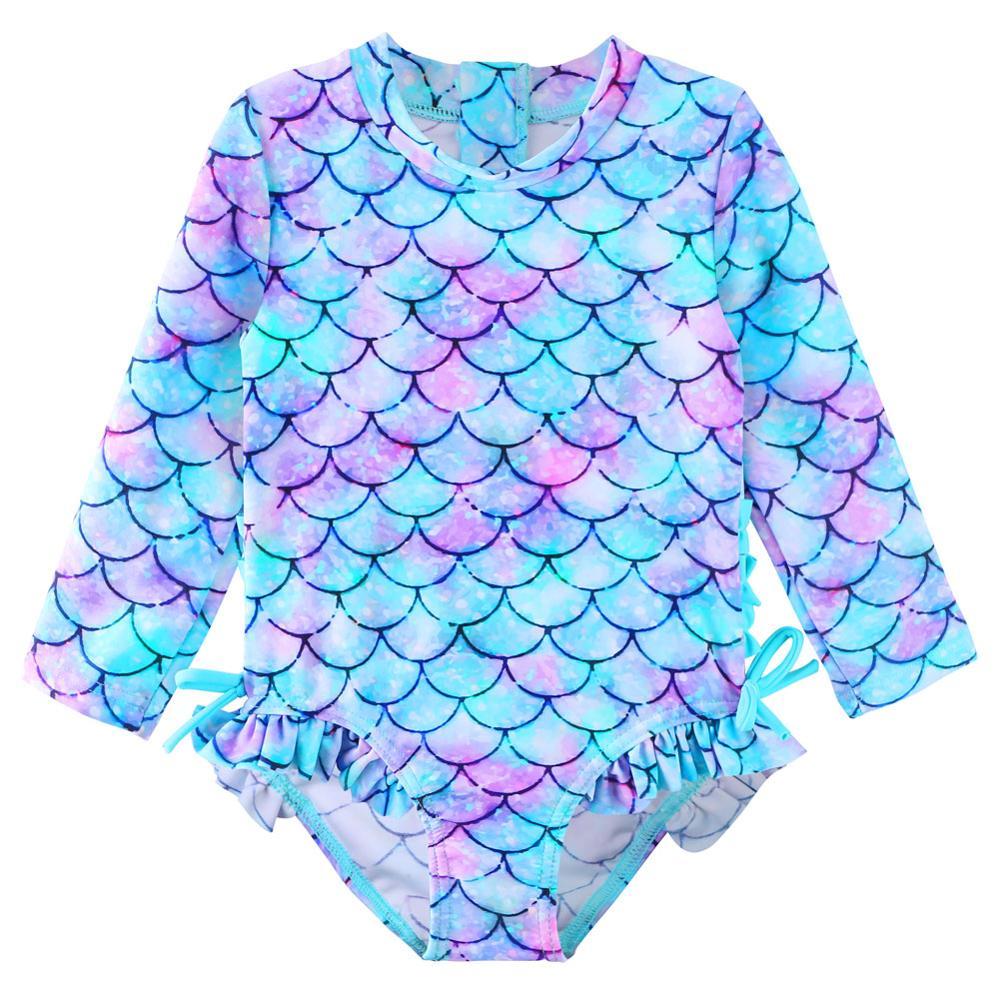 BAOHULU Cute Toddler Baby Girl Swimwear Long Sleeve UPF50+ Infant Bathing Suits Bright Ruffle Swimsuit Kids One Piece Beachwear