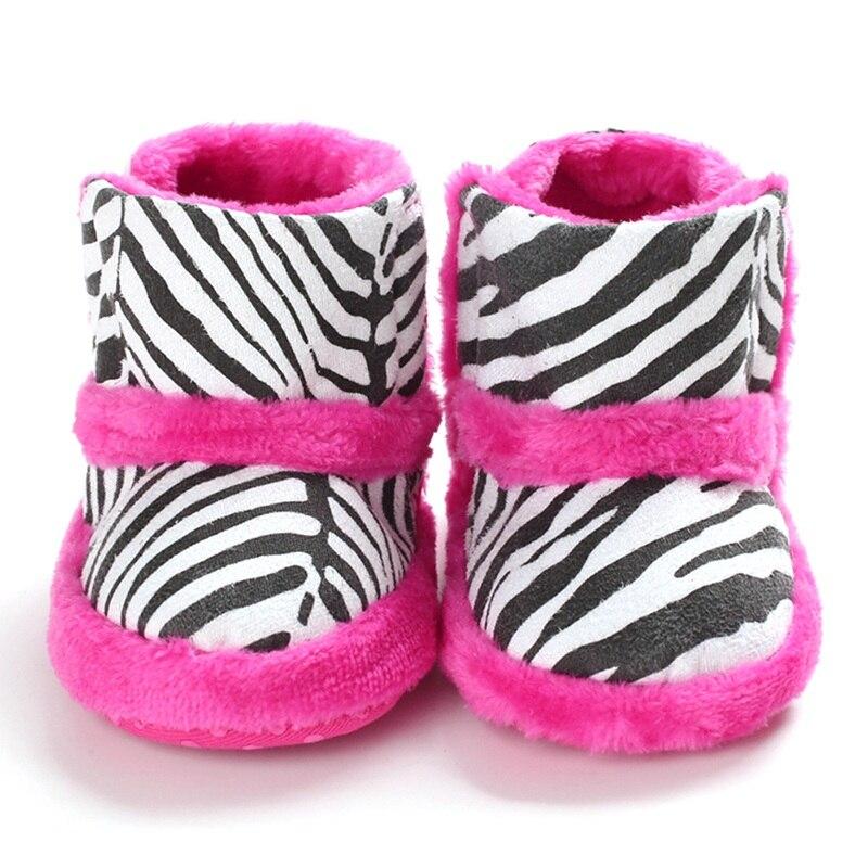 Baby Booties Baby Boots Winter Newborn Baby Boots Zebra Pattern Print Thicken Velvet Baby Booties In First Walkers 0-18M