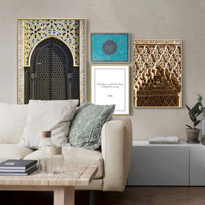 Image 2 - Affiche de porte avec Architecture islamique, toile imprimée de mosquée, Alhambra, peinture artistique murale, décoration de maison moderne