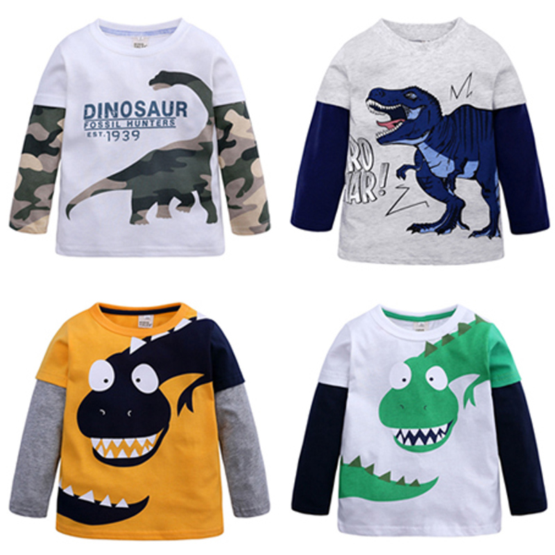 Cartoon Dinosaur Boys Long Sleeve T Shirt For 2-8Years Old Cotton Children Kids Boys Tops Tees T Shirt Spring Autumn Cotton