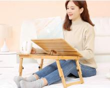 Adjustable Bamboo Notebook Table Lazy Bed Folding Desk  Studying Desk Small Dining Table with drawer
