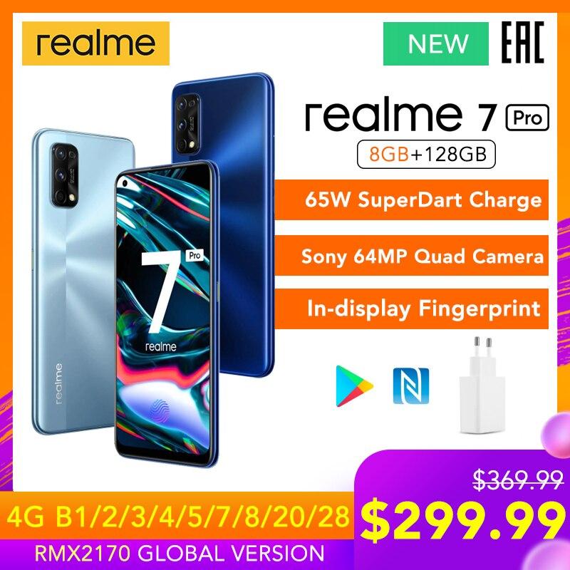 Realme 7 Pro wersja globalna 8GB RAM 128GB ROM 65W SuperDart Charge 64MP Quad Camera AMOLED pełny ekran dotykowy odcisk palca nowy