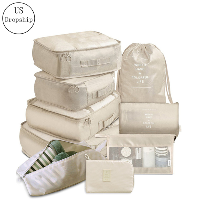 High Quality 9-piece Suitcase Organize Storage Bag Portable Cosmetic Bag Clothes Underwear Shoes Packing Set Travel Accessories