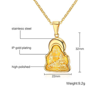 RUIYI stainless steel necklace hot sell top quality single women 32mm Buddha of benevolence gift women jewelry
