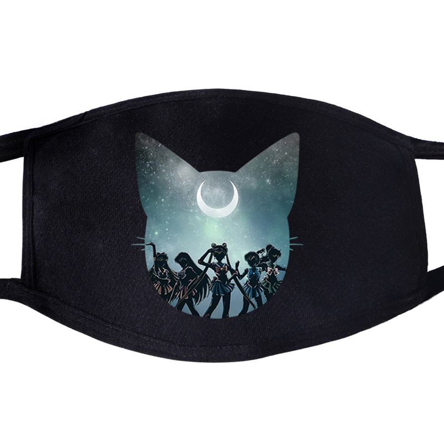Sailor Moon Cute Kawaii Lovely Japan Anime Dustproof Mouth Face Mask Unisex Black Anti-Dust Facial  Muffle Cover Masks