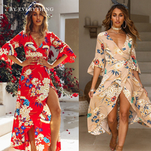 Sexy Floral Boho Dress Summer 2019 Red Bohemian Long Beach Dress Women Long Sleeve Maxi Dress Split Wrap Plus Size Dresses 3XL fashion long sleeve maxi dress women autumn robe casual plus size boho dresses female vintage bohemian beach floral long dress
