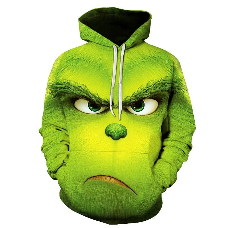 Adult Face 3D Printed Hoodie Men Women Sweatshirt Jacket Cartoon Pullover Funny Top Tee Green Cosplay For Halloween Costume