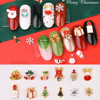Mezcla aleatoria de 10 Uds. De adornos para manicura 3d de Navidad,...