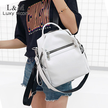 Soft Leather Backpack Women Multi-function Shoulder Bag Teenage Girls School Backpacks Female Travel mochila Black Bag XA402H