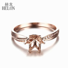 HELON Solid 10K Rose Gold Natural Diamonds Women Fine Jewelry Engagement Wedding Semi Mount Ring Setting Fit 6.5mm Round Cut(China)