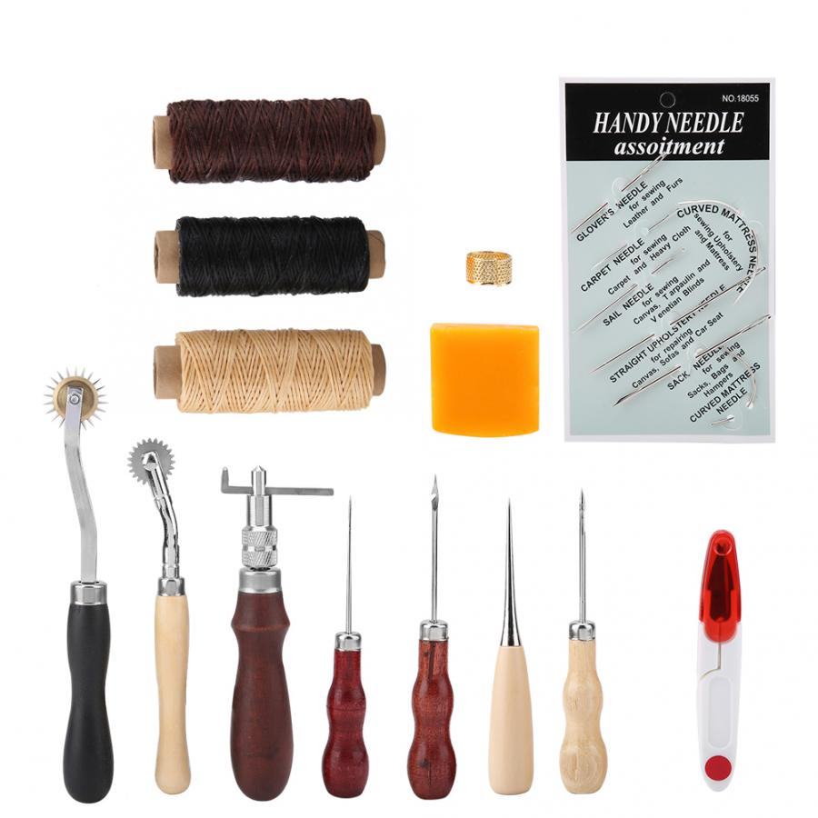 14Pcs Leather Craft Hand Stitching Sewing Needles Thread Awl Waxed Kit