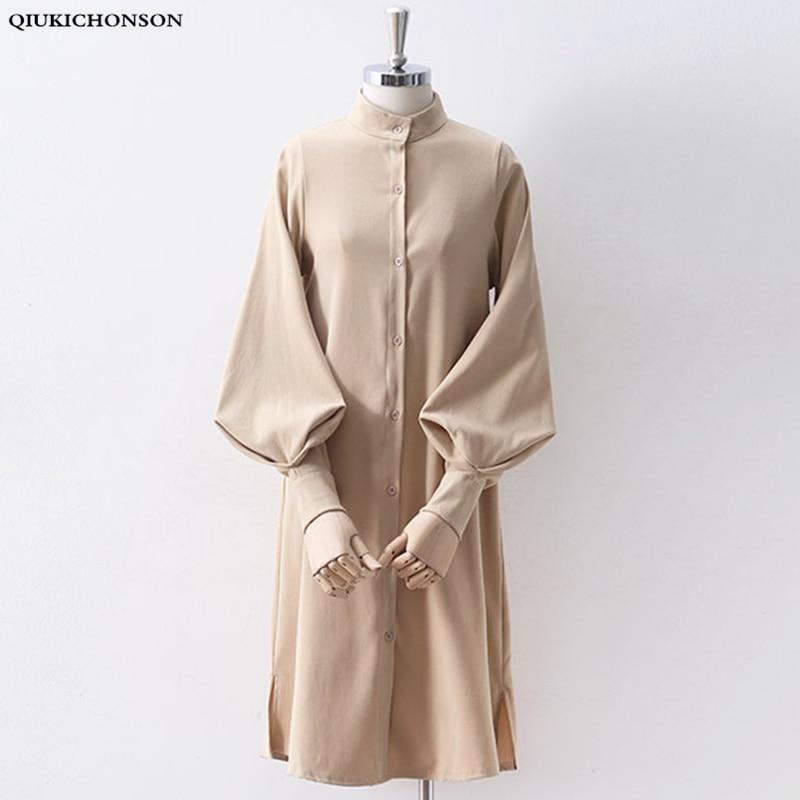 Long Lantern Sleeve Blouse Korean Lazy Oaf Style Women Shirt Spring Autumn Stand Collar Single Breasted Slit Long Shirt White