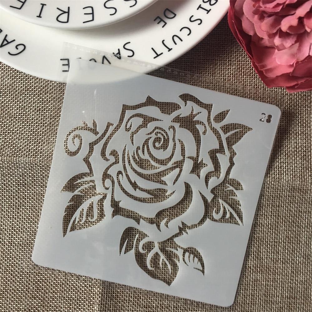 1Pcs 13cm Rose Flower  DIY Layering Stencils Wall Painting Scrapbook Coloring Embossing Album Decorative Card Template