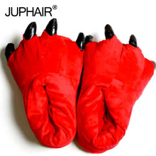 лучшая цена Boys Men's Slippers Winter Warm Thicken Insole Cotton Slipper Shoes Paw Animal Funny Christmas Dinosaur Monster Claw House Plush