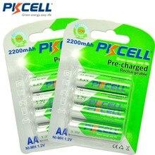 8個/2カードpkcell aa充電式バッテリー単三ニッケル水素1.2v 2200mahニッケル水素2Aプリチャージbateriaの低自己放電aa電池