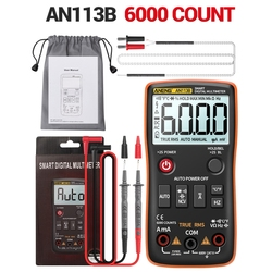 AN113B Digital Multimeter with Temperature Tester 6000 Counts Auto-Ranging AC/DC Transistor Voltage Meter True RMS