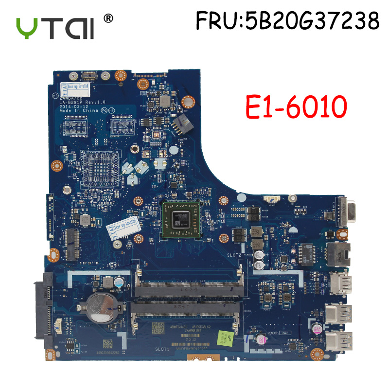 ZAWBA/BB LA-B291P NEW  Motherboard For Lenovo B50-45 Laptop Motherboard AMD E1-6010 CPU FRU:5B20G37238 100% Tested Intact